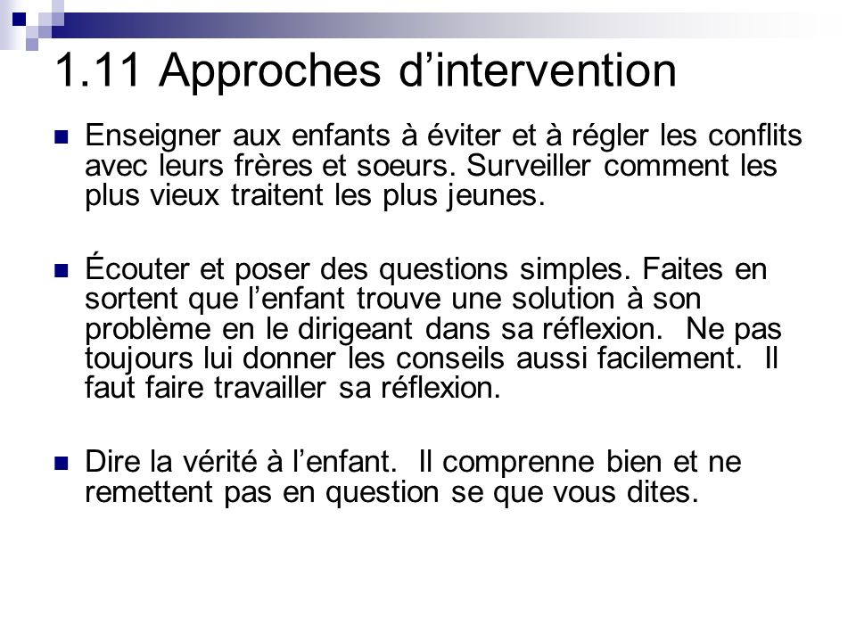 1.11 Approches d'intervention