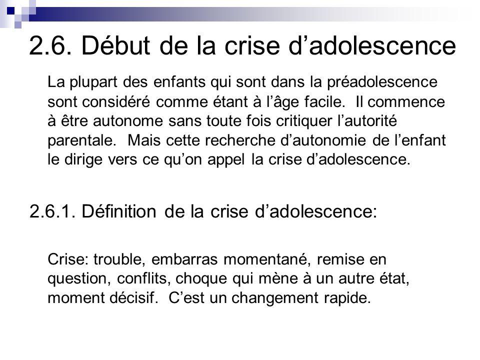 2.6. Début de la crise d'adolescence