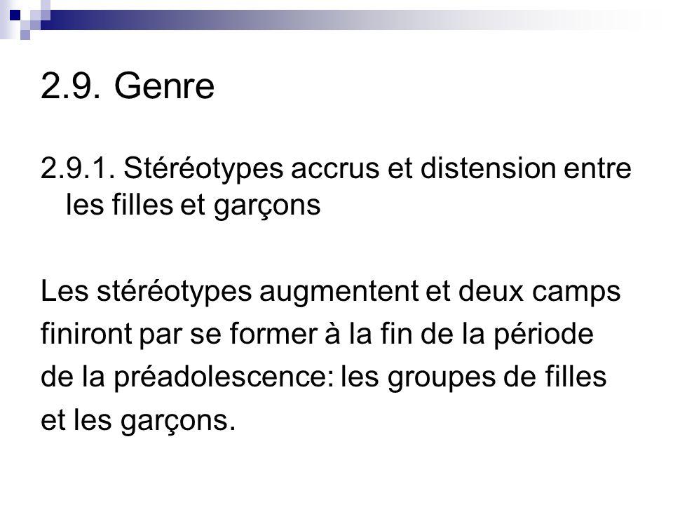 2.9. Genre 2.9.1. Stéréotypes accrus et distension entre les filles et garçons. Les stéréotypes augmentent et deux camps.