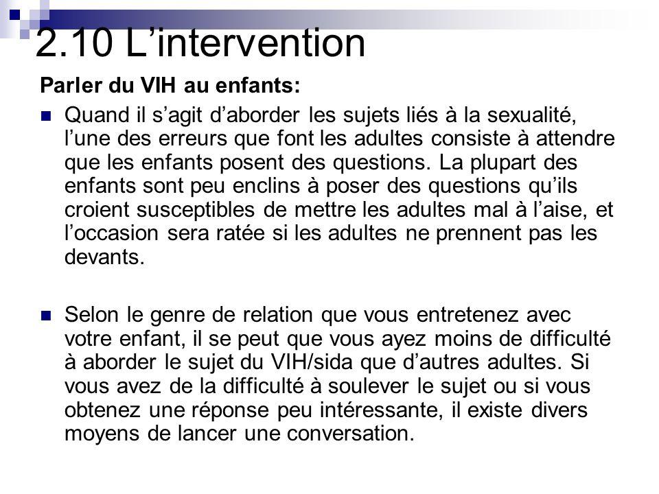 2.10 L'intervention Parler du VIH au enfants: