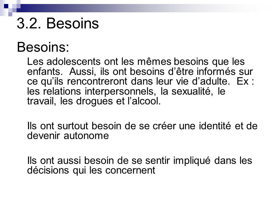 3.2. Besoins Besoins: