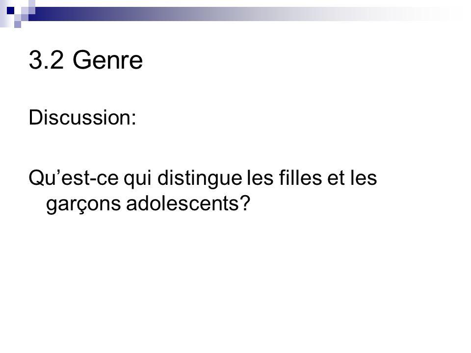 3.2 Genre Discussion: Qu'est-ce qui distingue les filles et les garçons adolescents