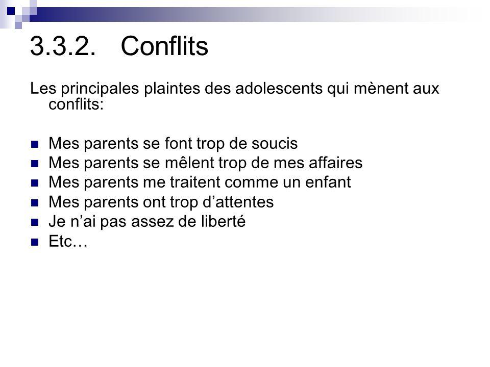 3.3.2. Conflits Les principales plaintes des adolescents qui mènent aux conflits: Mes parents se font trop de soucis.