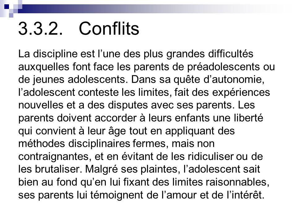3.3.2. Conflits La discipline est l'une des plus grandes difficultés