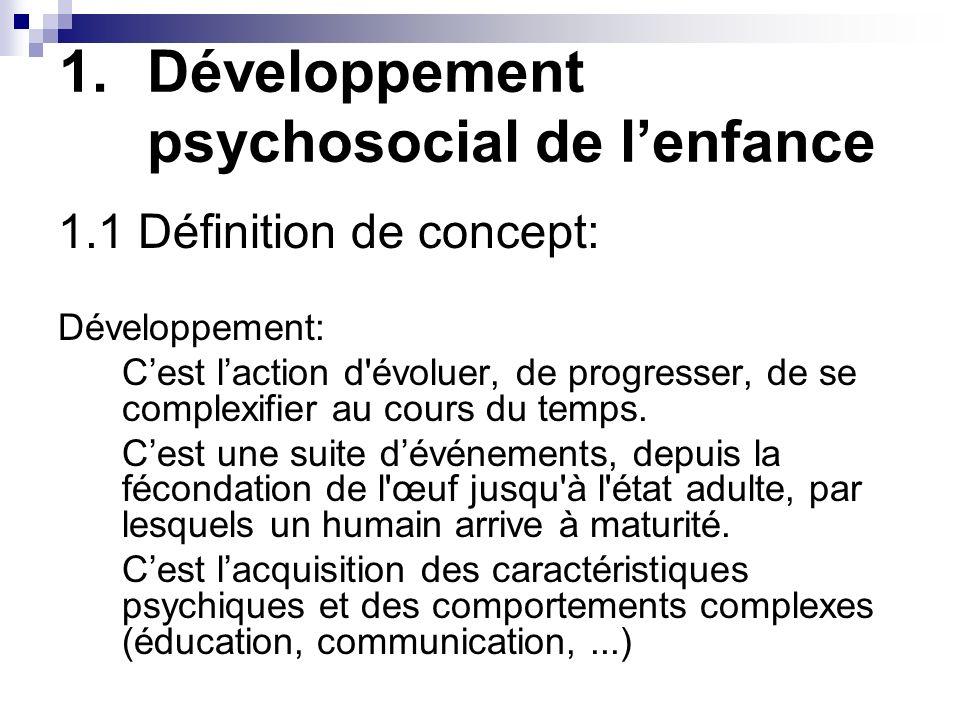 Développement psychosocial de l'enfance