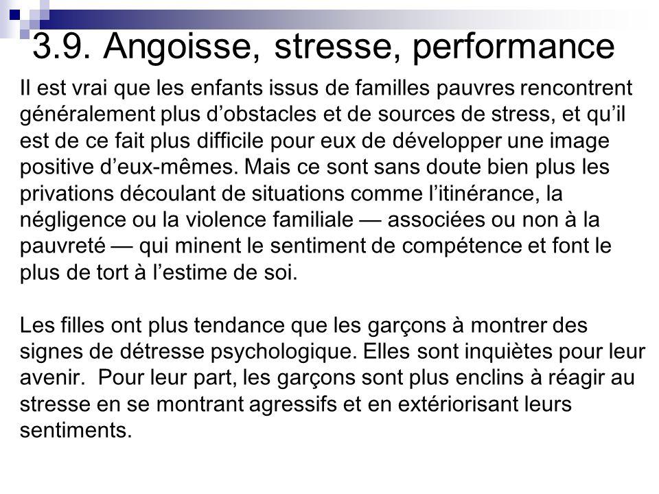 3.9. Angoisse, stresse, performance