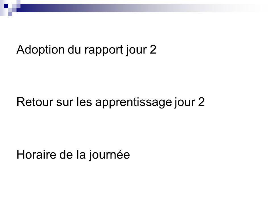 Adoption du rapport jour 2