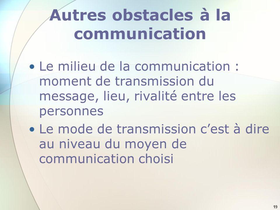 Autres obstacles à la communication