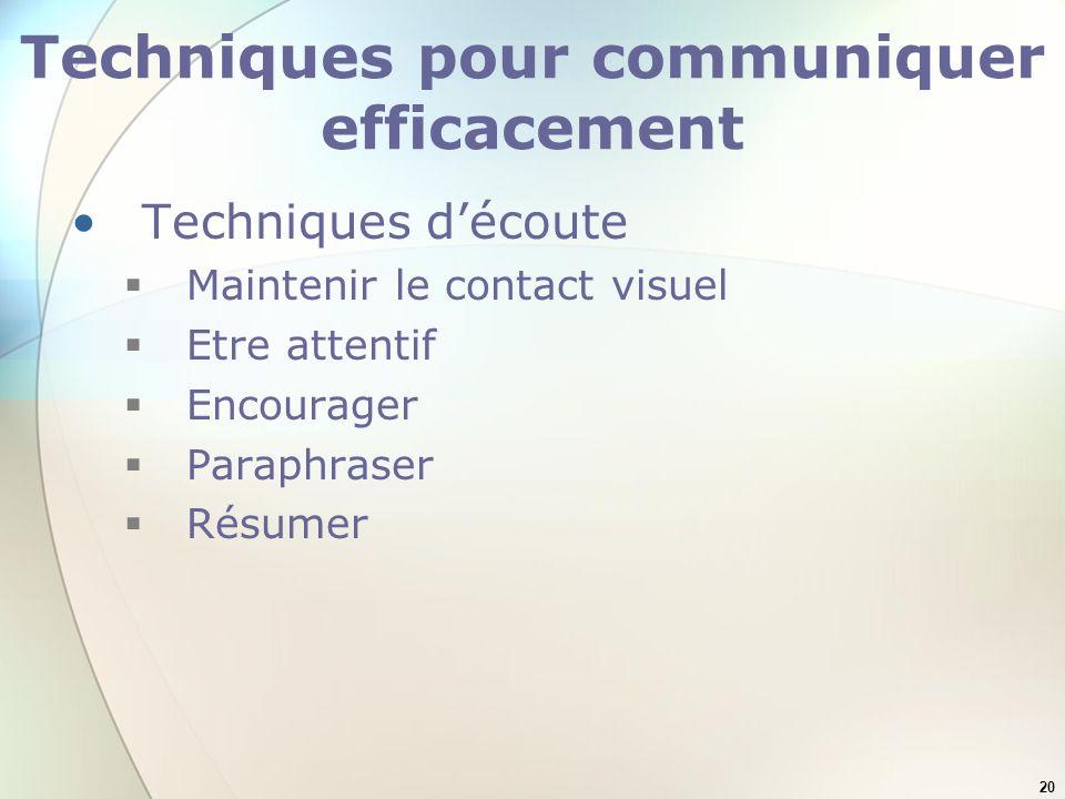 Techniques pour communiquer efficacement