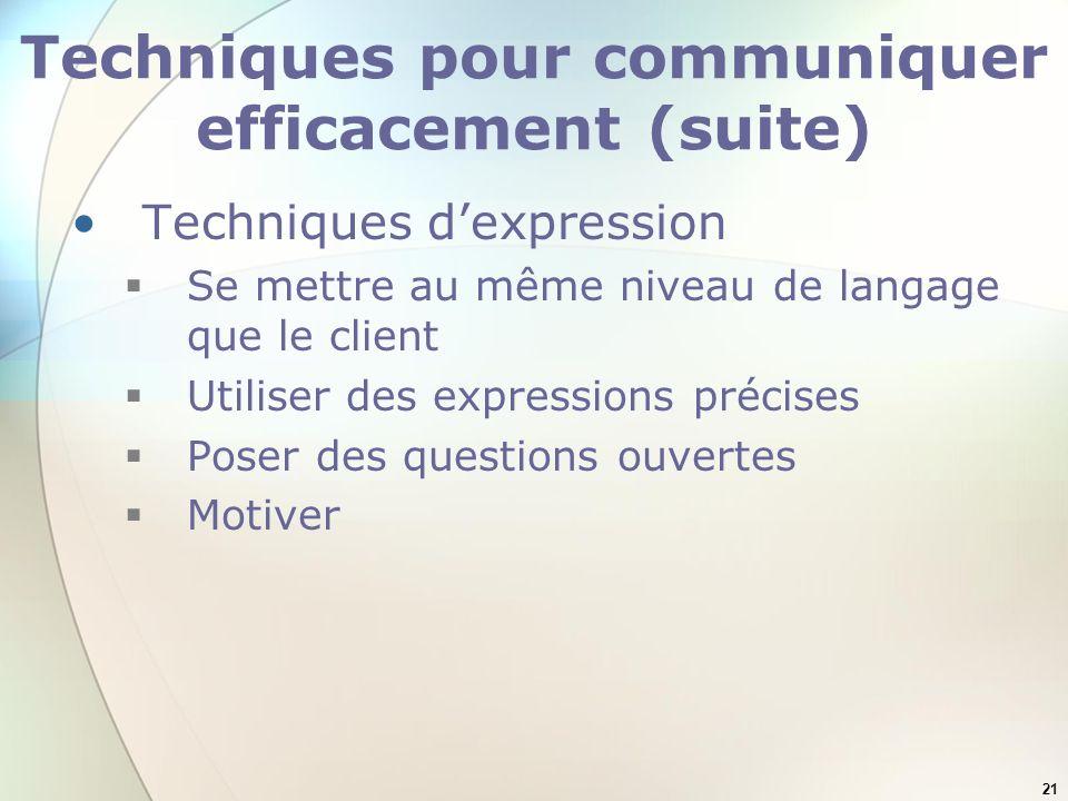 Techniques pour communiquer efficacement (suite)