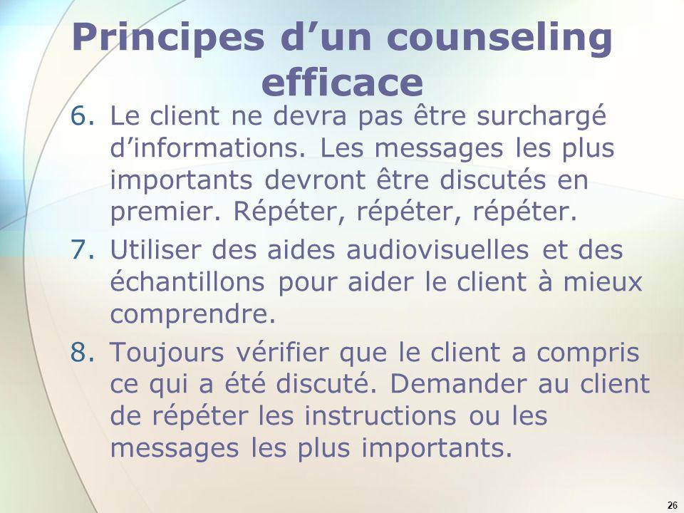 Principes d'un counseling efficace