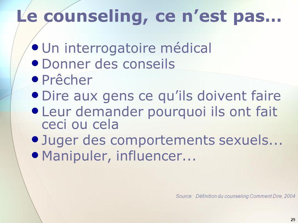Le counseling, ce n'est pas…