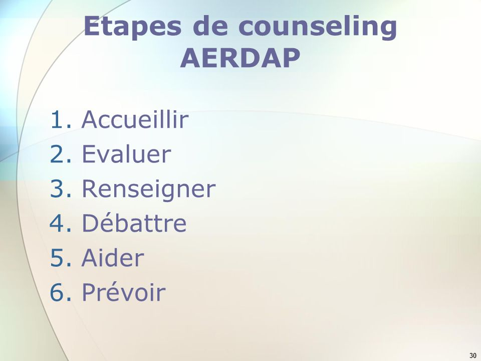 Etapes de counseling AERDAP