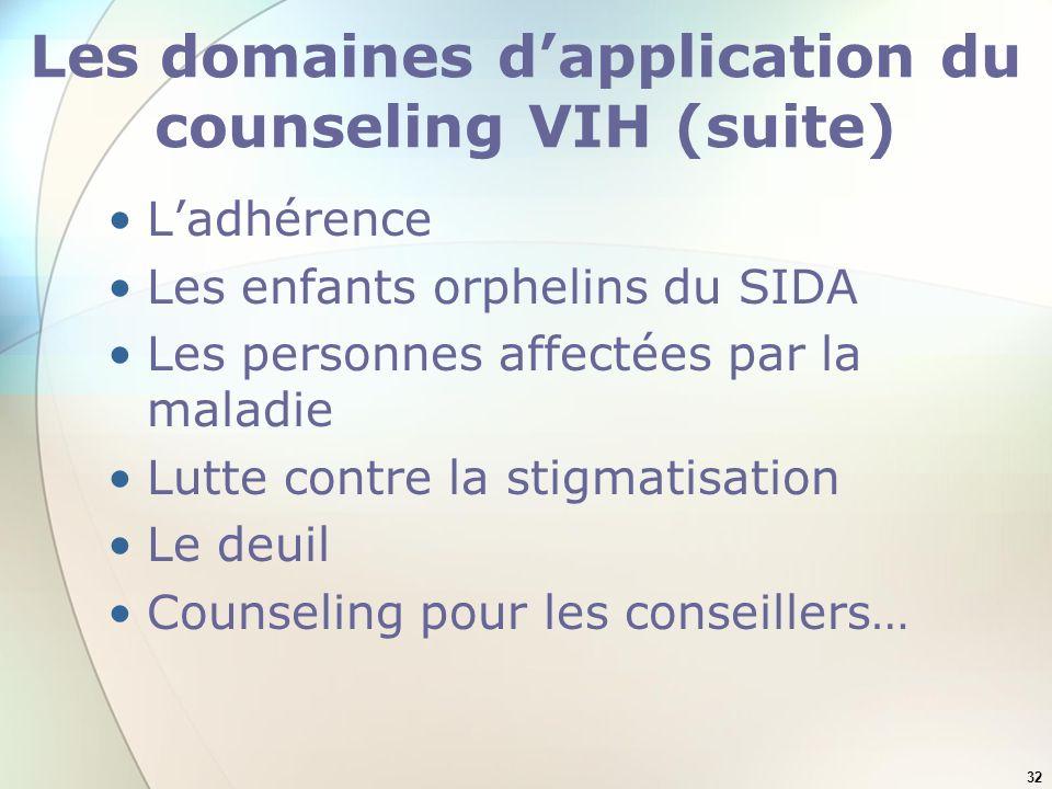 Les domaines d'application du counseling VIH (suite)