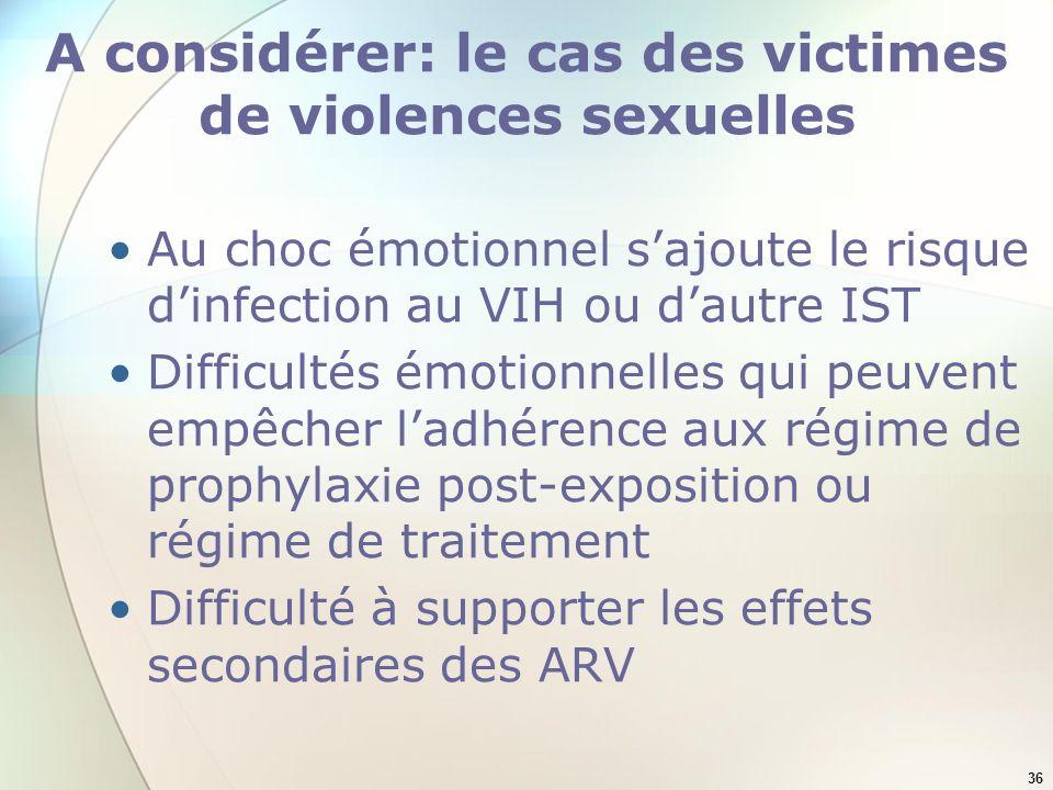 A considérer: le cas des victimes de violences sexuelles