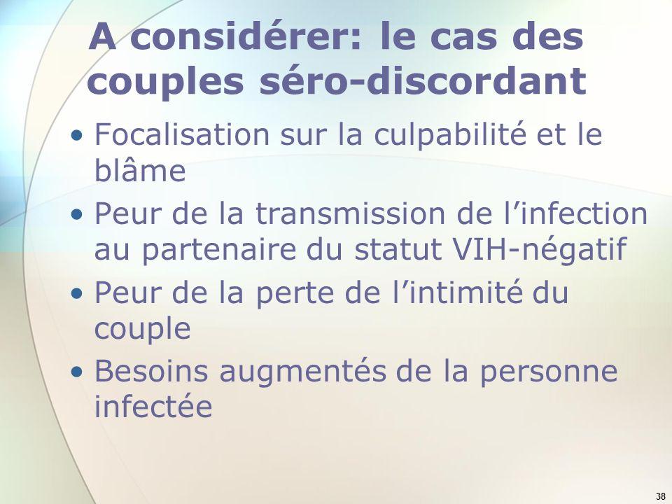 A considérer: le cas des couples séro-discordant