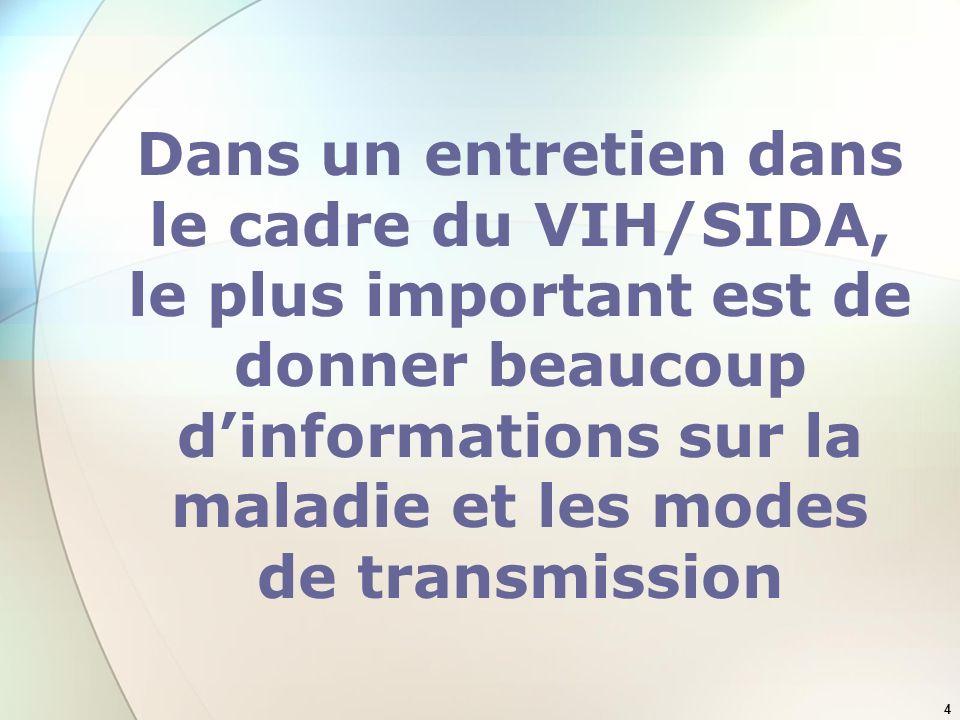 Dans un entretien dans le cadre du VIH/SIDA, le plus important est de donner beaucoup d'informations sur la maladie et les modes de transmission
