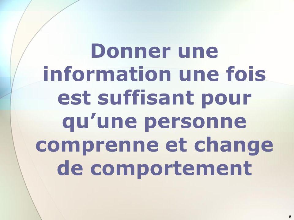 Donner une information une fois est suffisant pour qu'une personne comprenne et change de comportement