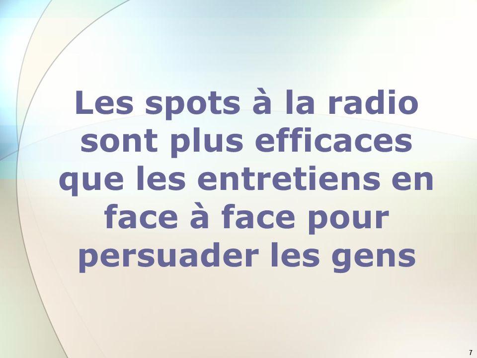 Les spots à la radio sont plus efficaces que les entretiens en face à face pour persuader les gens