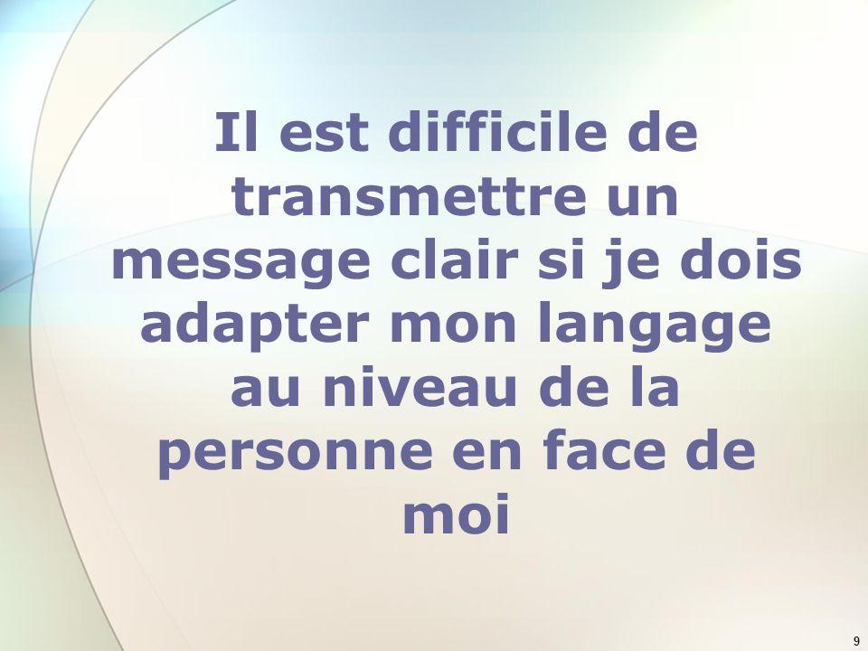 Il est difficile de transmettre un message clair si je dois adapter mon langage au niveau de la personne en face de moi