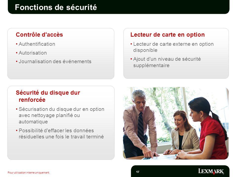 Fonctions de sécurité Contrôle d accès Lecteur de carte en option