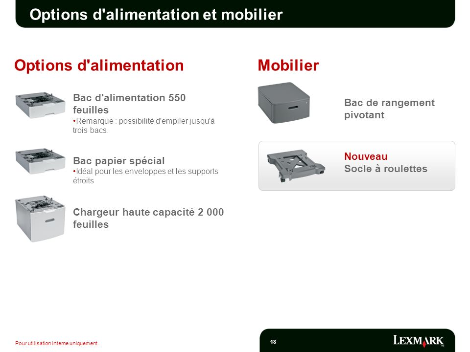 Options d alimentation et mobilier