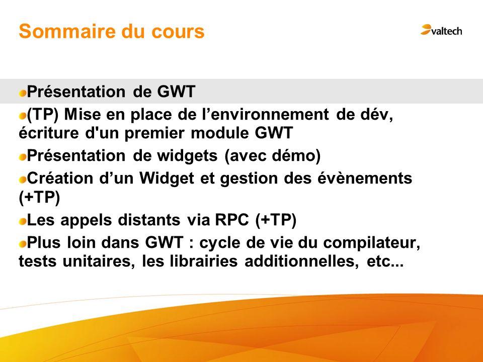 Sommaire du cours Présentation de GWT
