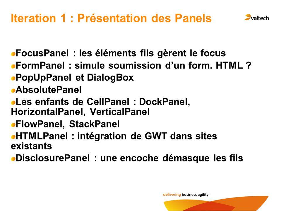 Iteration 1 : Présentation des Panels
