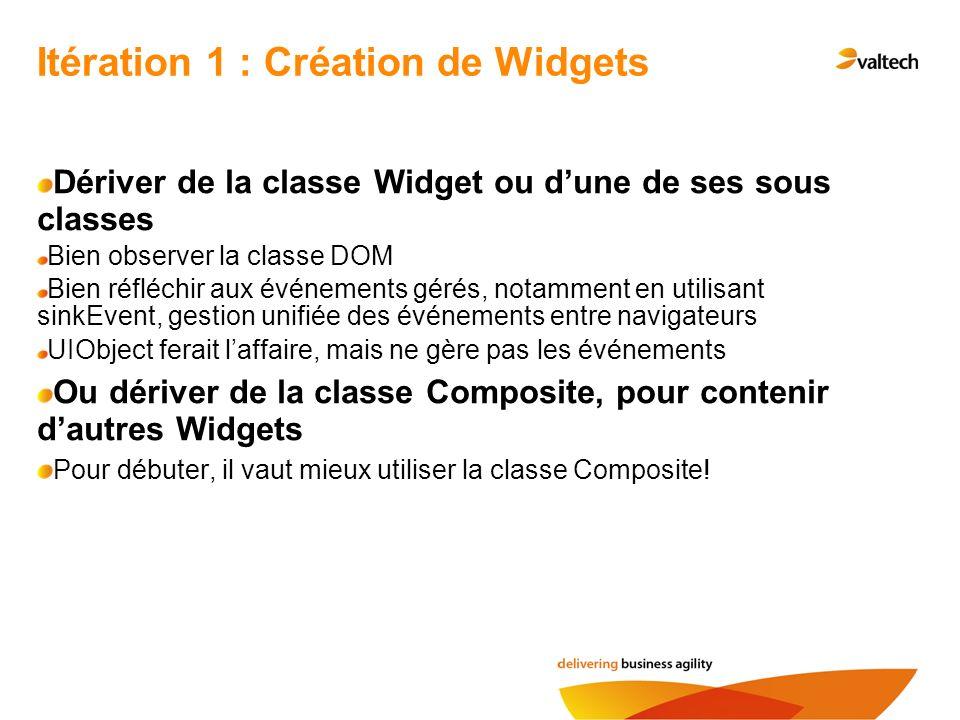 Itération 1 : Création de Widgets