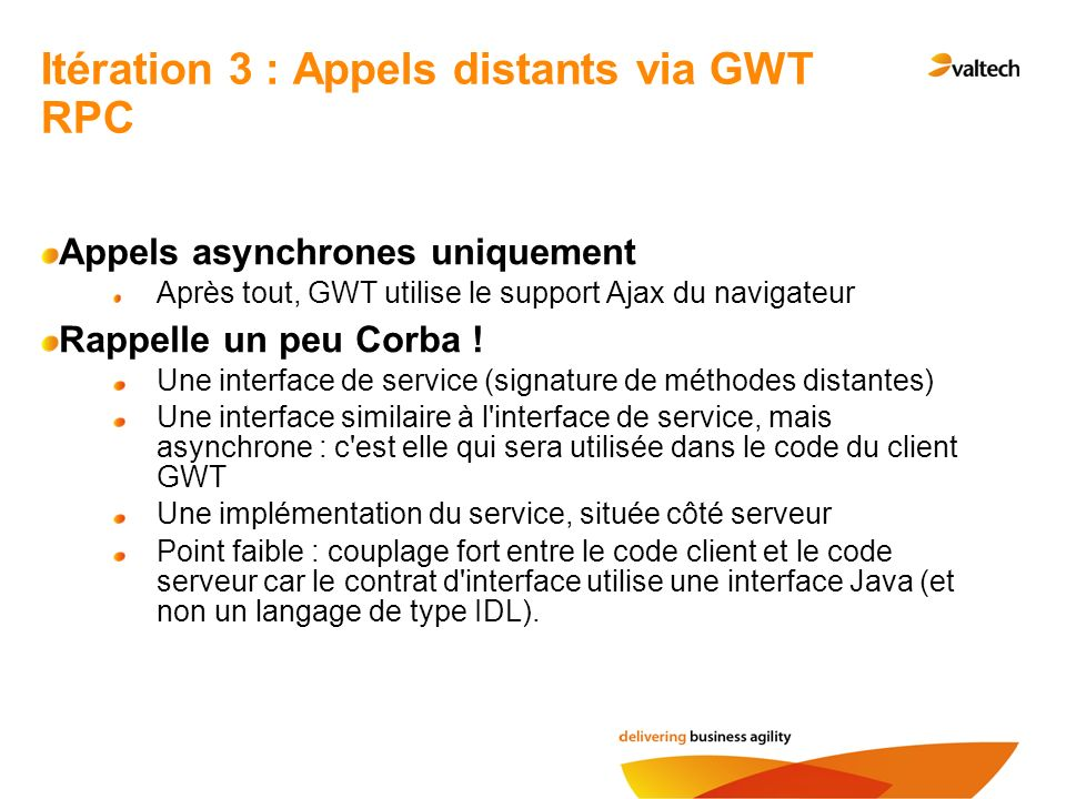 Itération 3 : Appels distants via GWT RPC