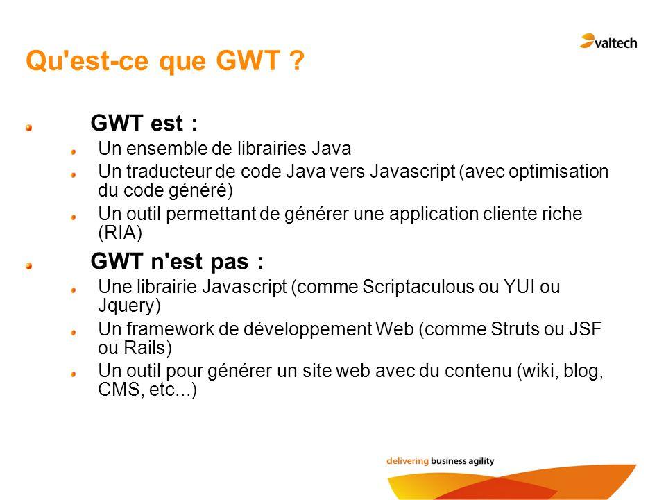 Qu est-ce que GWT GWT est : GWT n est pas :