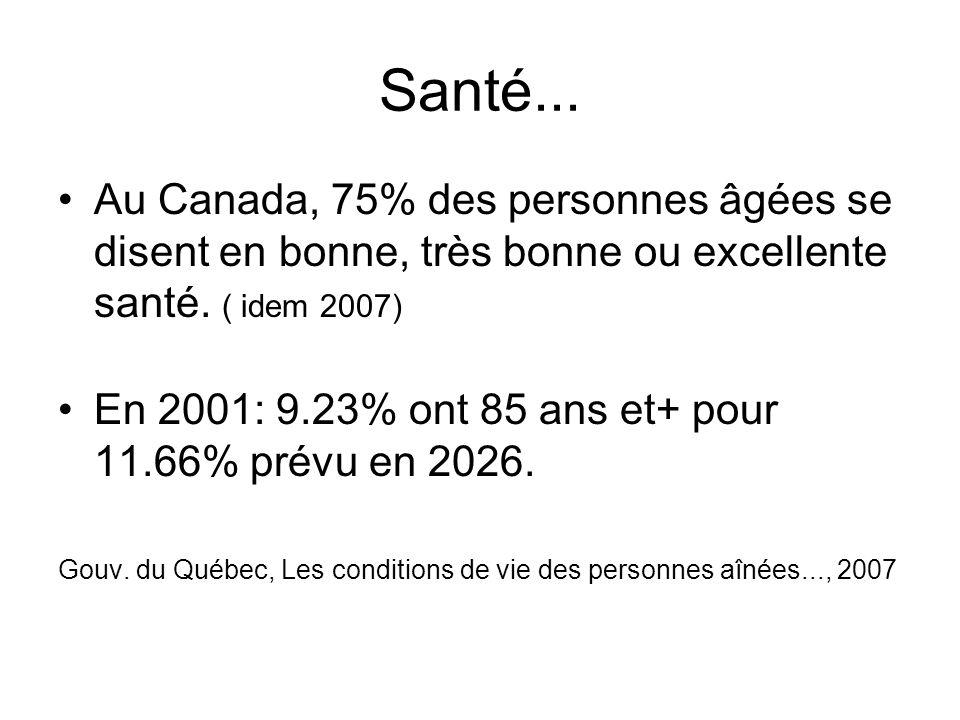 Santé... Au Canada, 75% des personnes âgées se disent en bonne, très bonne ou excellente santé. ( idem 2007)