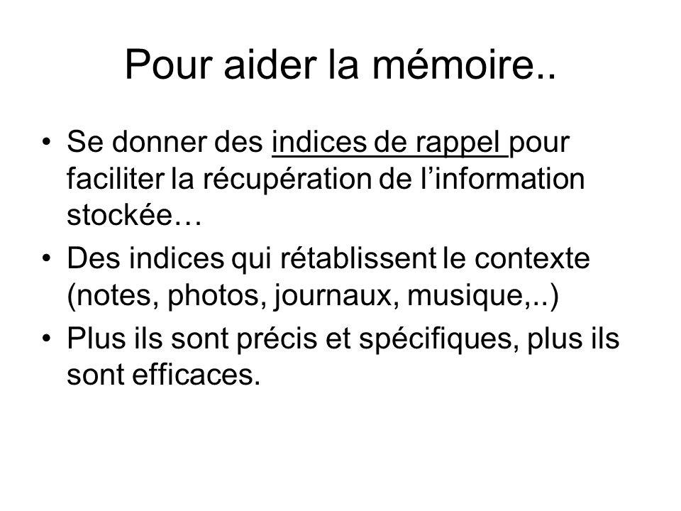 Pour aider la mémoire.. Se donner des indices de rappel pour faciliter la récupération de l'information stockée…