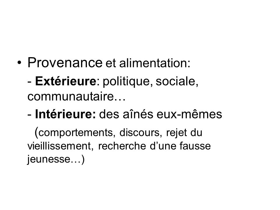 Provenance et alimentation:
