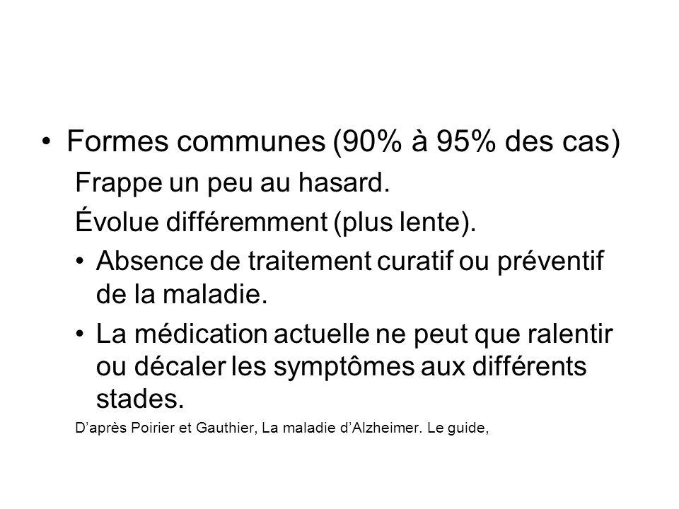 Formes communes (90% à 95% des cas)