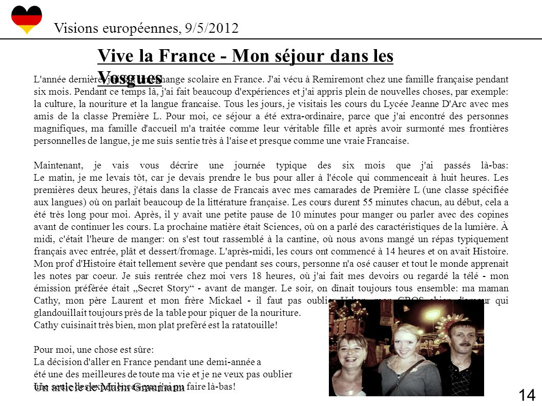 Vive la France - Mon séjour dans les Vosgues