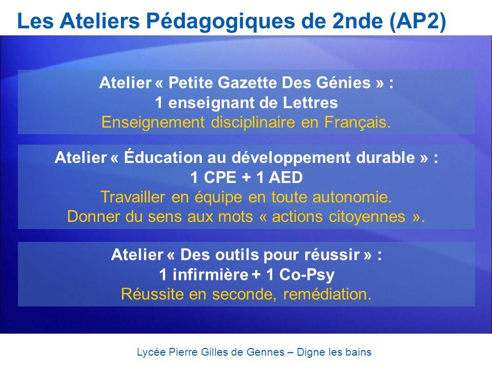 Les Ateliers Pédagogiques de 2nde (AP2)