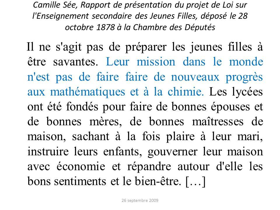 Camille Sée, Rapport de présentation du projet de Loi sur l Enseignement secondaire des Jeunes Filles, déposé le 28 octobre 1878 à la Chambre des Députés
