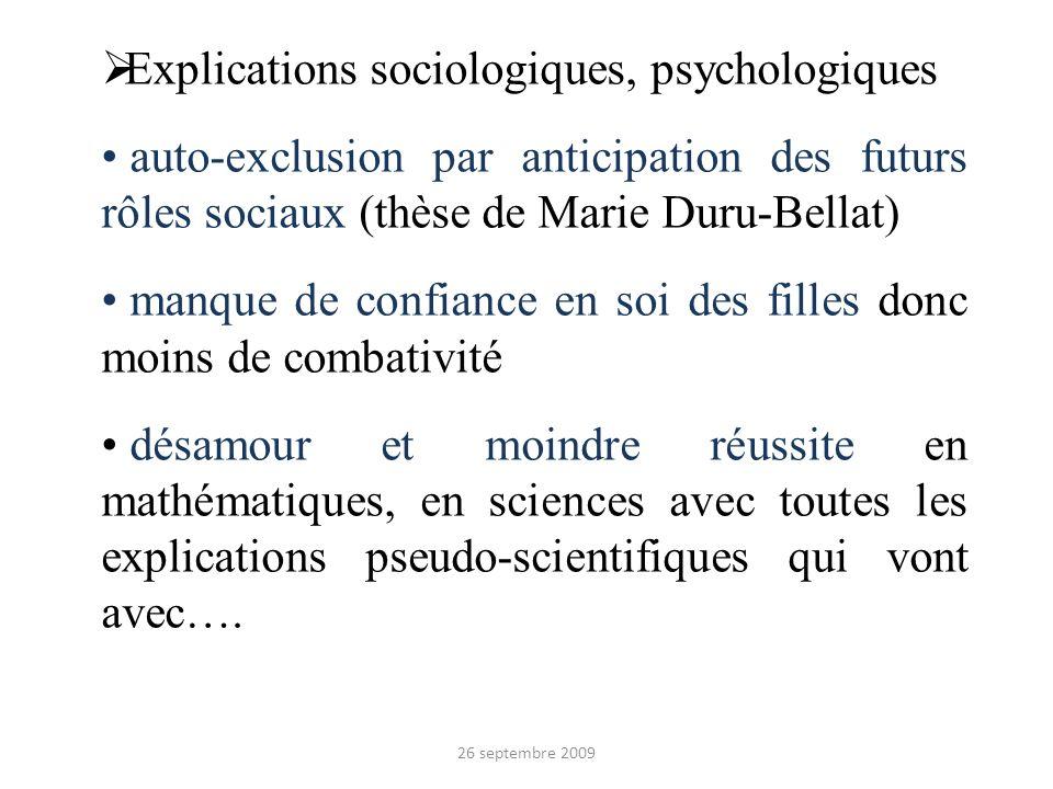 Explications sociologiques, psychologiques