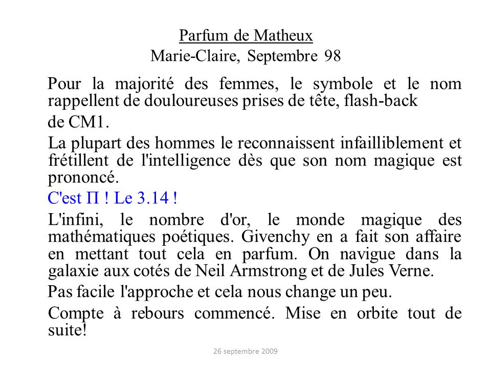 Parfum de Matheux Marie-Claire, Septembre 98