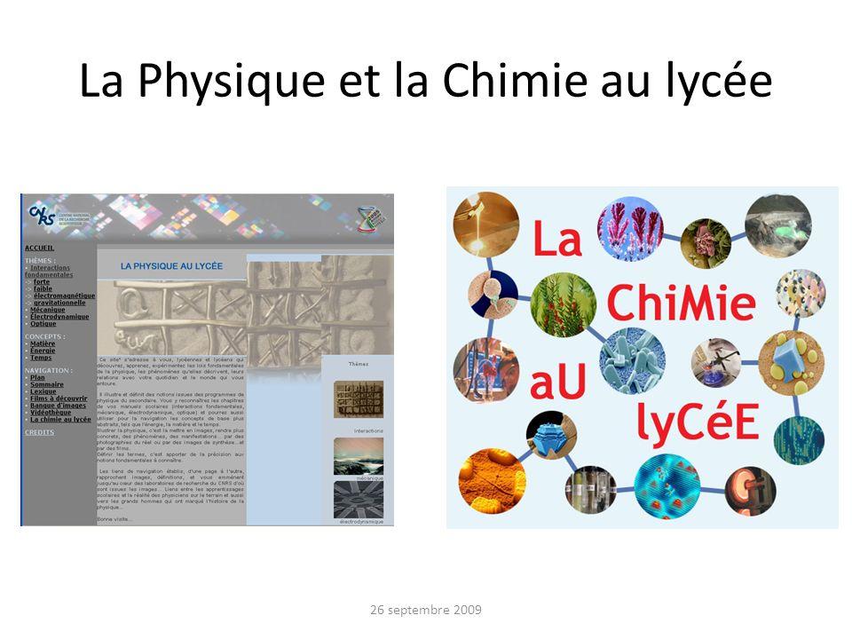 La Physique et la Chimie au lycée