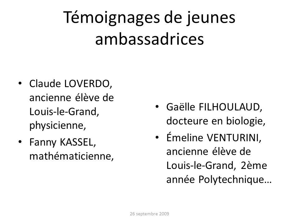 Témoignages de jeunes ambassadrices