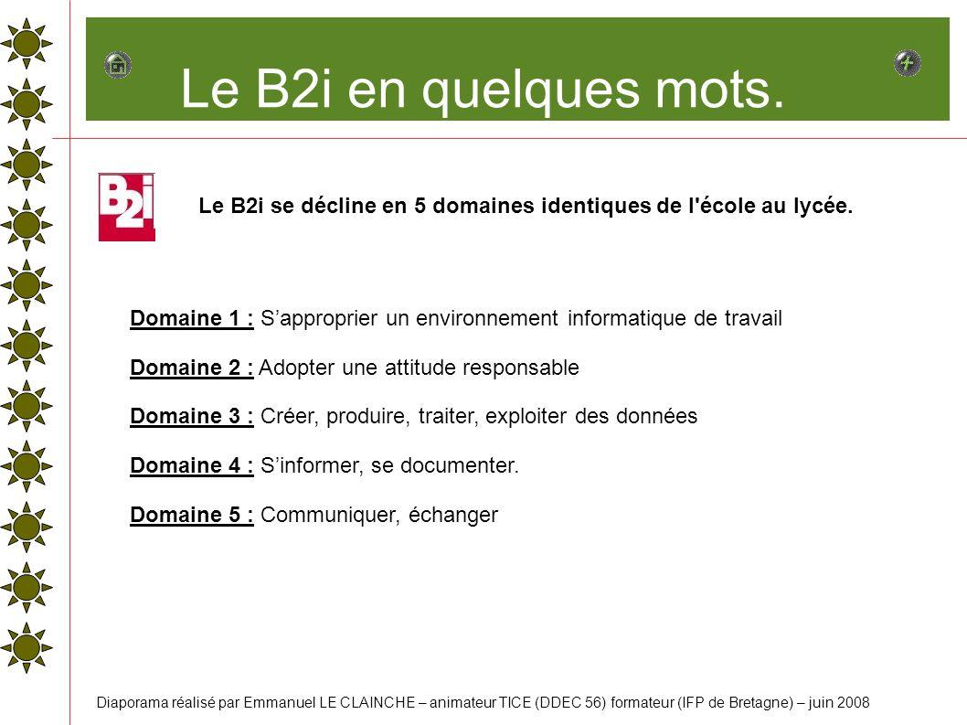 Le B2i en quelques mots. Le B2i se décline en 5 domaines identiques de l école au lycée.