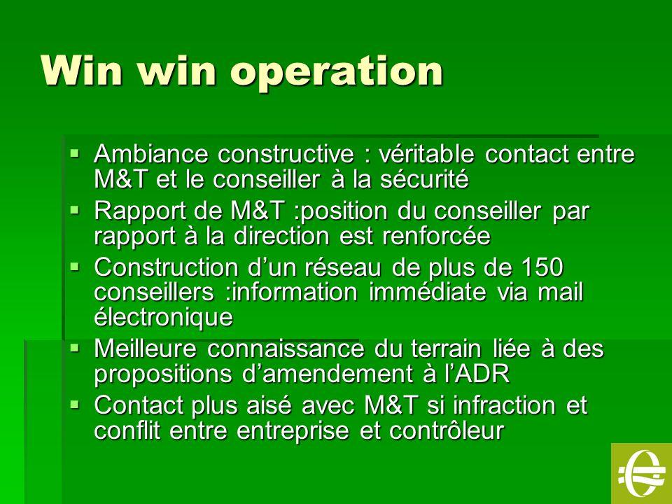 Win win operation Ambiance constructive : véritable contact entre M&T et le conseiller à la sécurité.