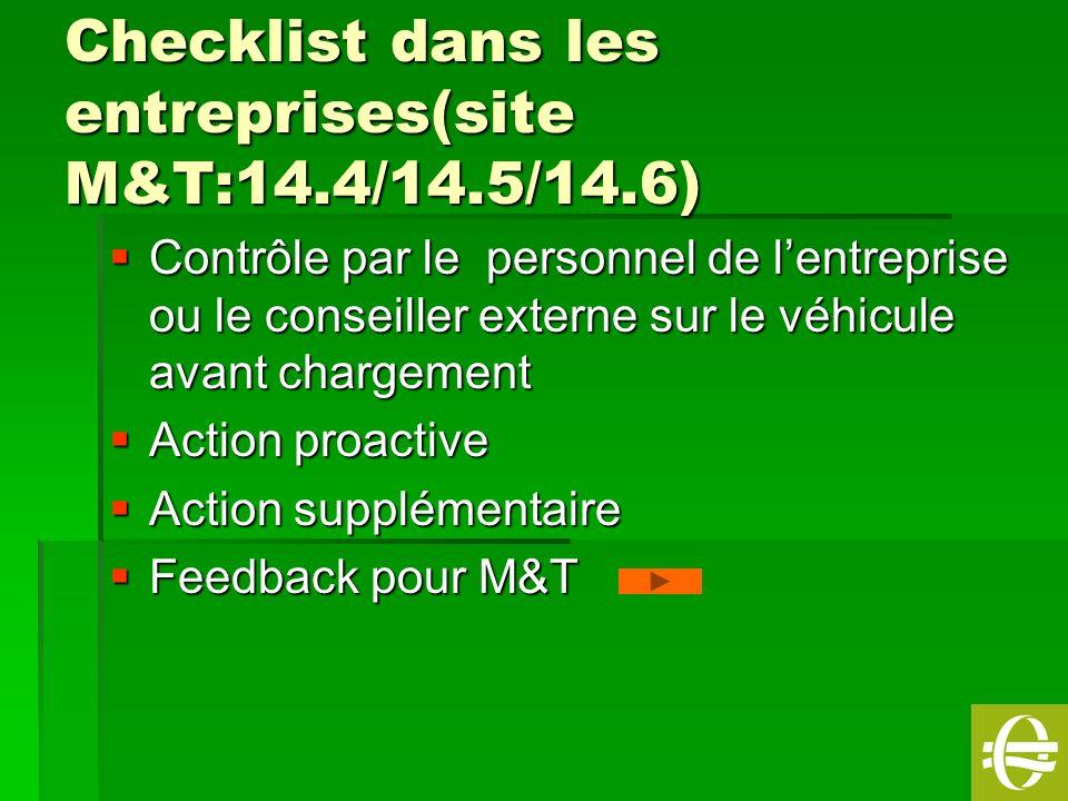 Checklist dans les entreprises(site M&T:14.4/14.5/14.6)