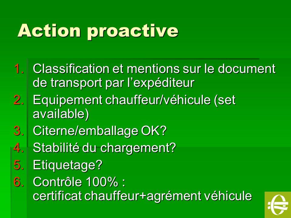 Action proactive Classification et mentions sur le document de transport par l'expéditeur. Equipement chauffeur/véhicule (set available)