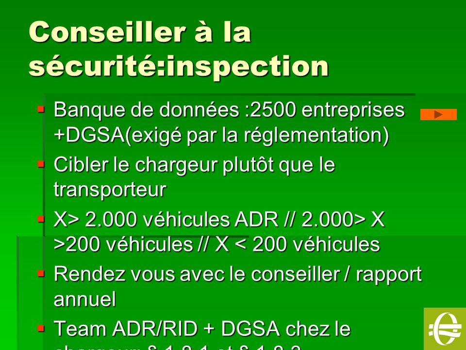Conseiller à la sécurité:inspection