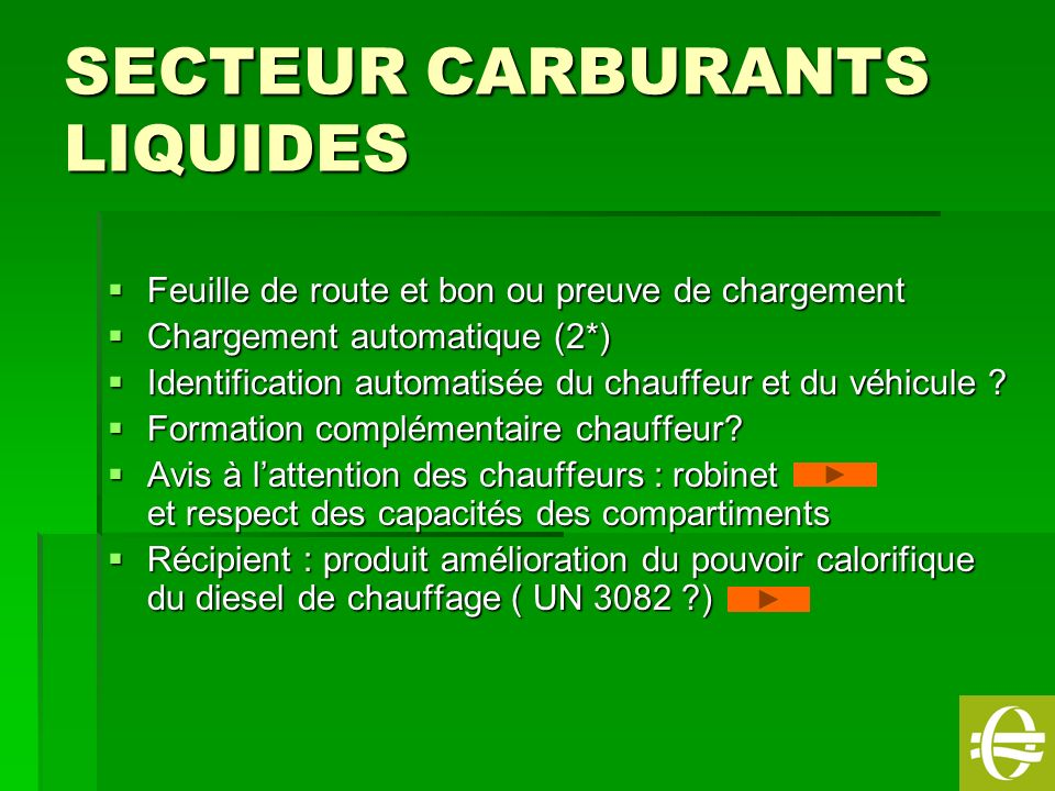 SECTEUR CARBURANTS LIQUIDES