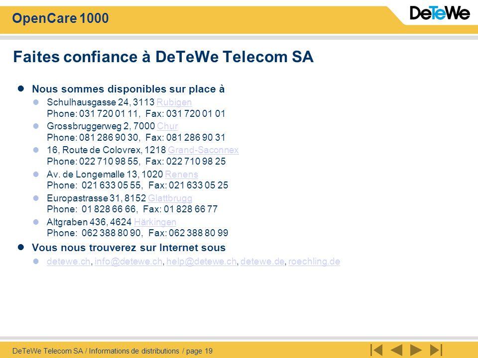 Faites confiance à DeTeWe Telecom SA