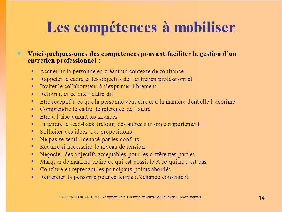Les compétences à mobiliser